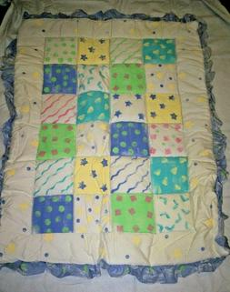 """Baby Comforter, Reversible, Stripes and Large Blocks, 34"""" x"""