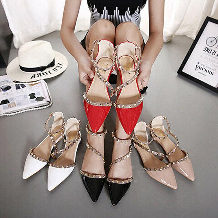 rock studs flats red strappy pointy d