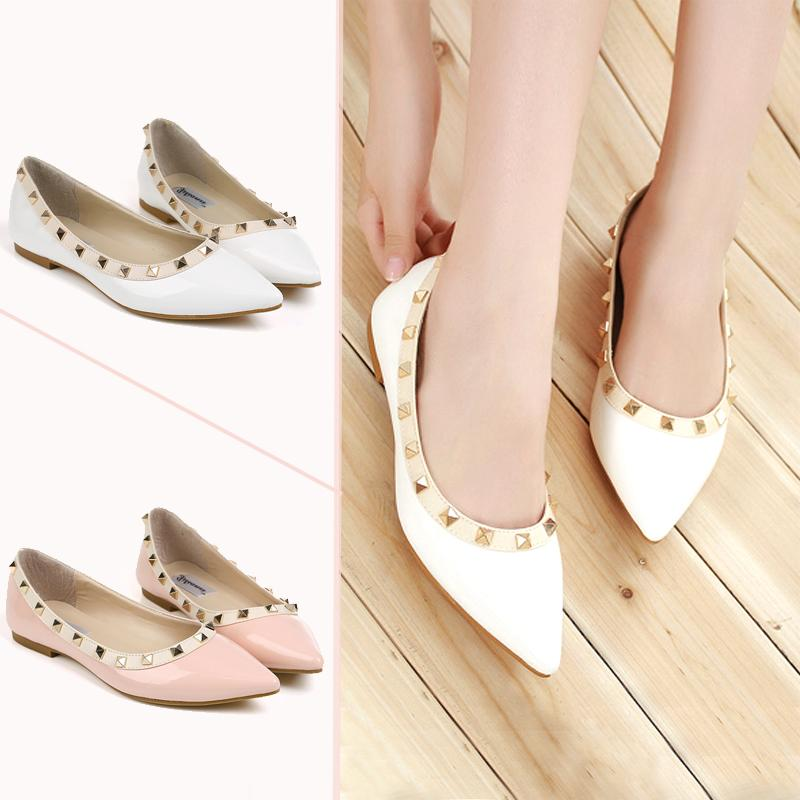 rock studs flats yellow pointy rivets balletic