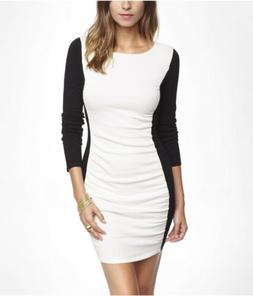 NWT Express Color Block Ruched Sweater Dress Black White Ivo