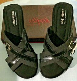 NWT Comfort Plus Sandals Slides Black w Buckles $27 Chris-Cr