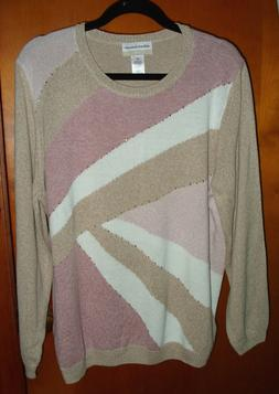 Alfred Dunner Pastel Modified Color Block Sweater 1X New