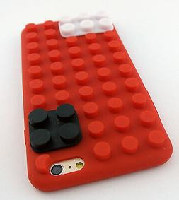 RED LEGO TOY BLOCKS SOFT SILICONE RUBBER SKIN CASE COVER APP