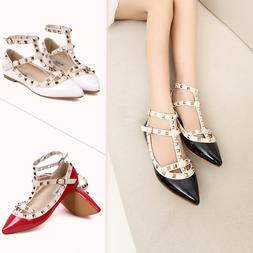 Rock Studs Flats Strappy Pointy D'orsay Rivets Walking Hot W