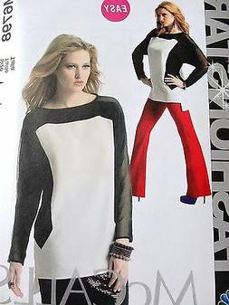 McCall's M6798 FASHION STAR COLOR BLOCK TOP, TUNIC SEWING PA