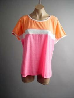 Sporty Casual Bright Color Block Neon Stretch Dolman Sleeve