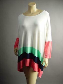 White Tiered Stripe Color Block Casual Baggy Jersey Top 300